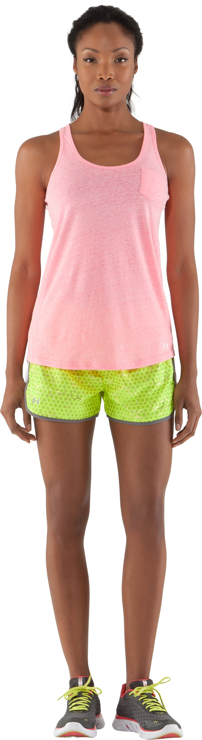 "Women's UA Escape Printed 3"" Shorts, High-Vis Yellow, Front"