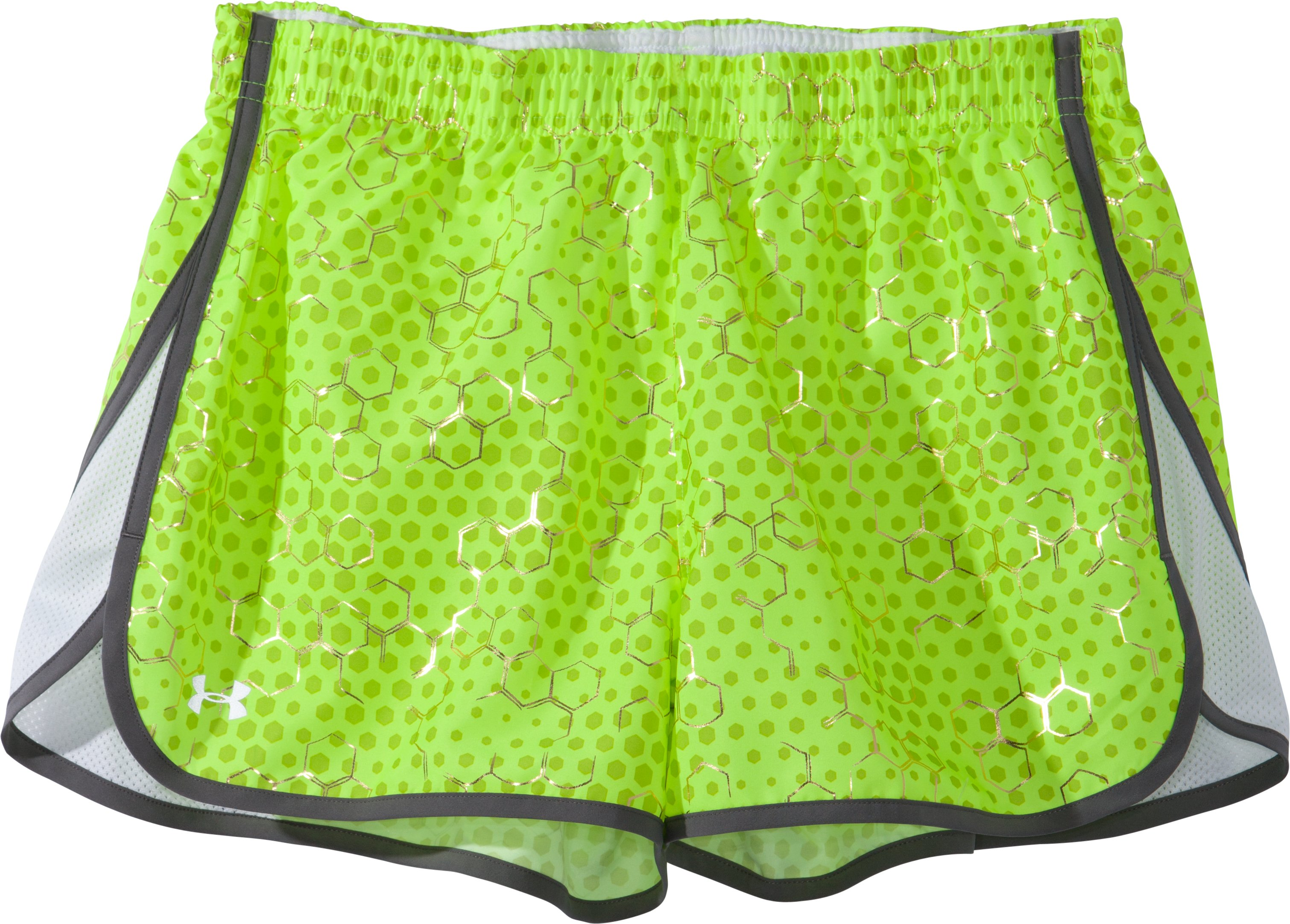 "Women's UA Escape Printed 3"" Shorts, High-Vis Yellow, Laydown"