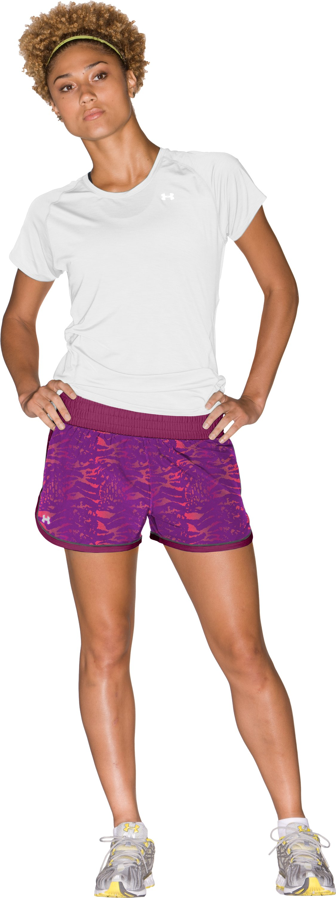 "Women's UA Great Escape Printed 3"" Shorts, Rosewood, Front"