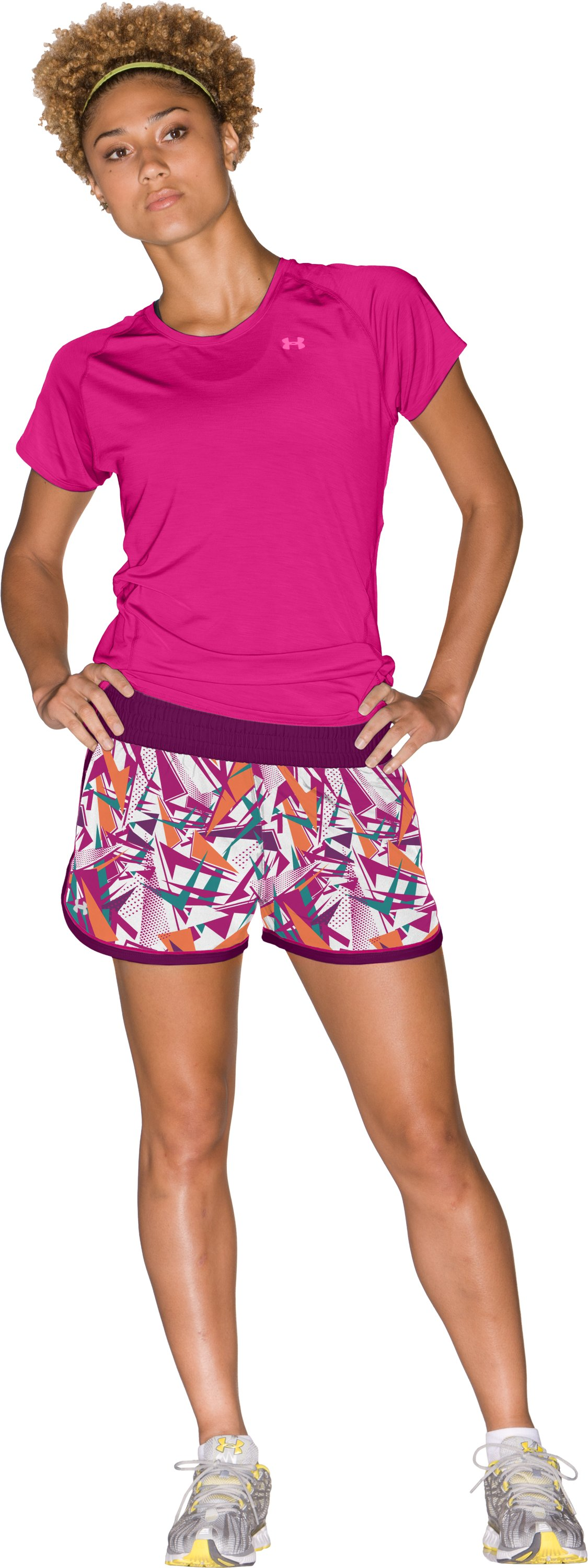 "Women's UA Great Escape Printed 3"" Shorts, Rush, Front"