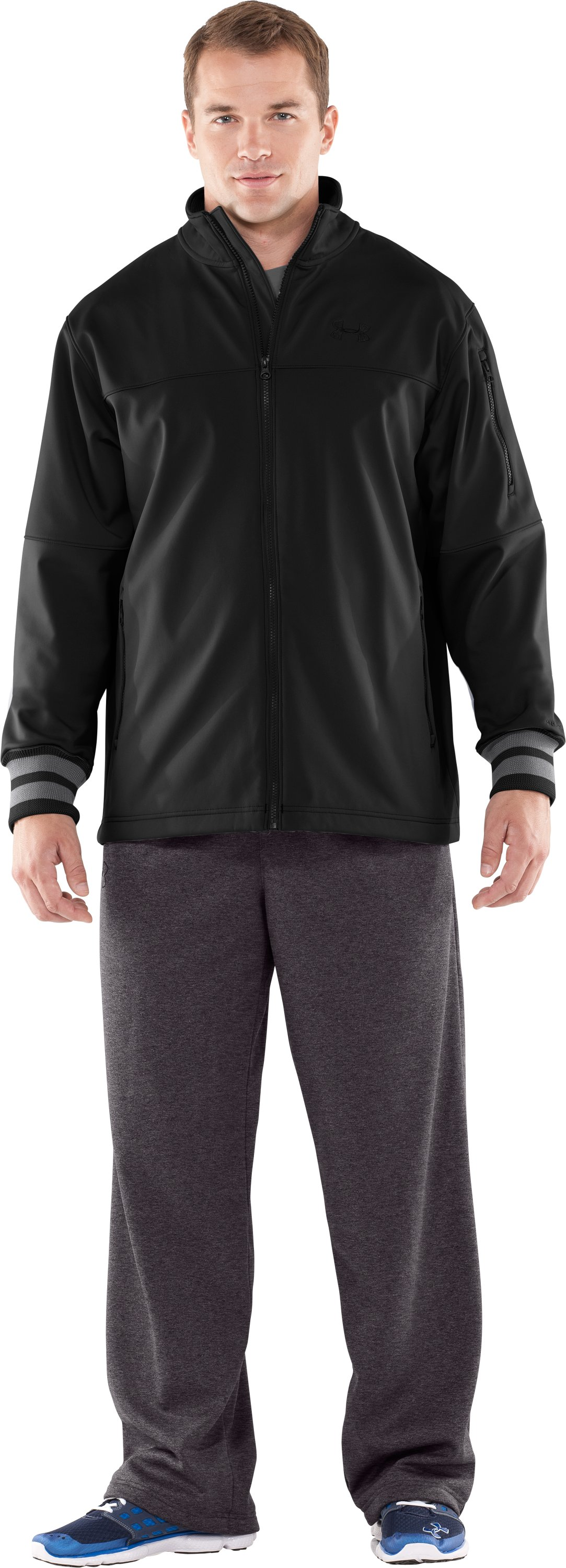 Men's UA Contender Storm Softshell Jacket, Black , Front