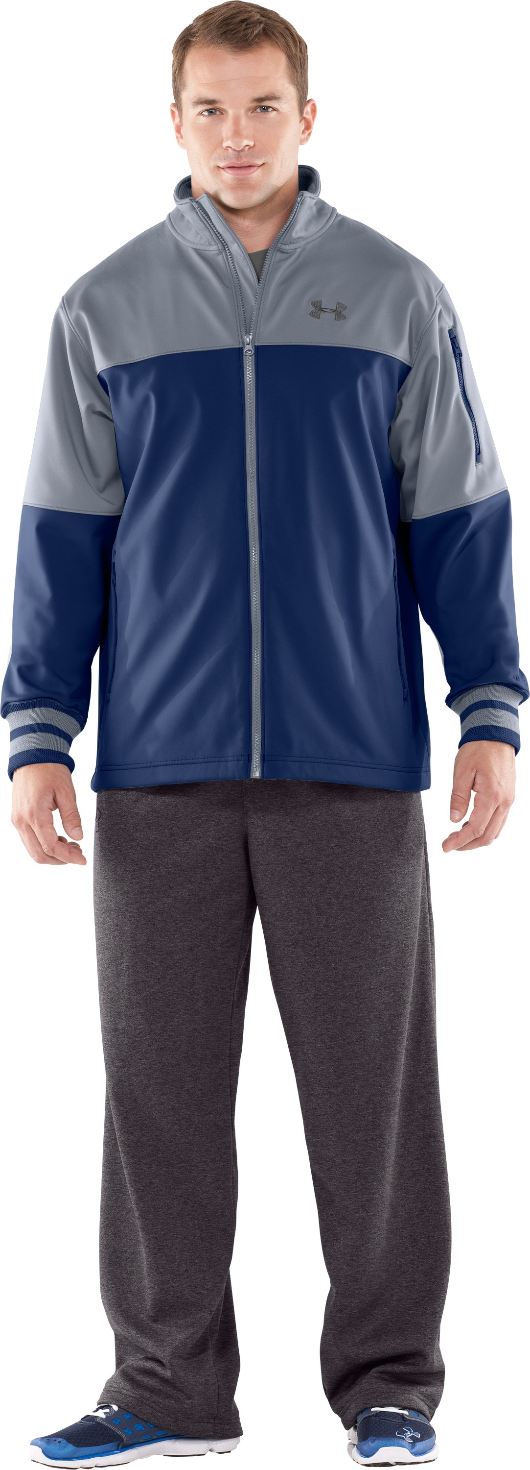 Men's UA Contender Storm Softshell Jacket, Steel, zoomed image