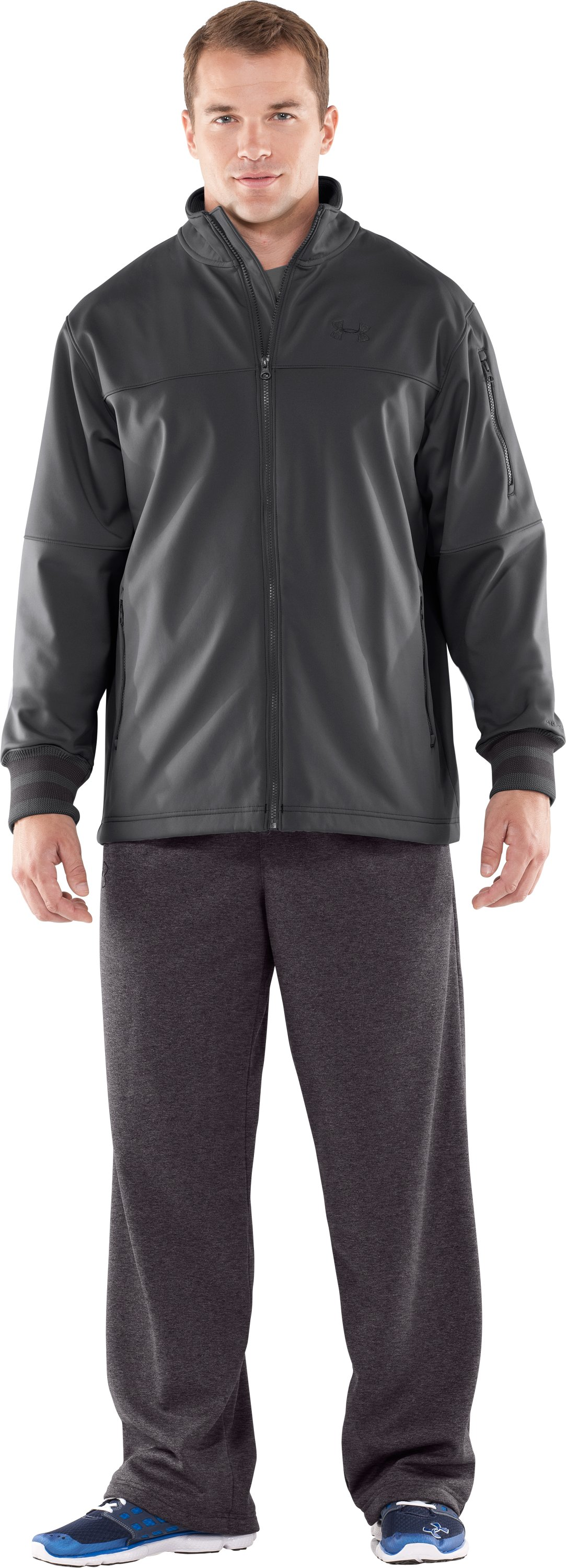 Men's UA Contender Storm Softshell Jacket, Graphite, Front