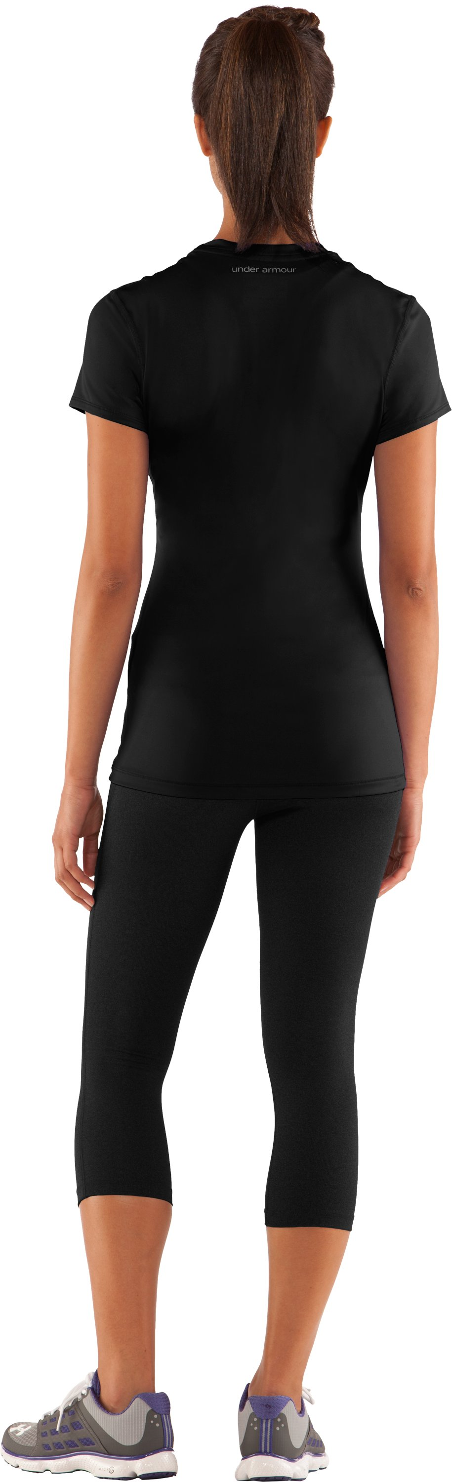 Women's HeatGear® Sonic Short Sleeve, Black , Back