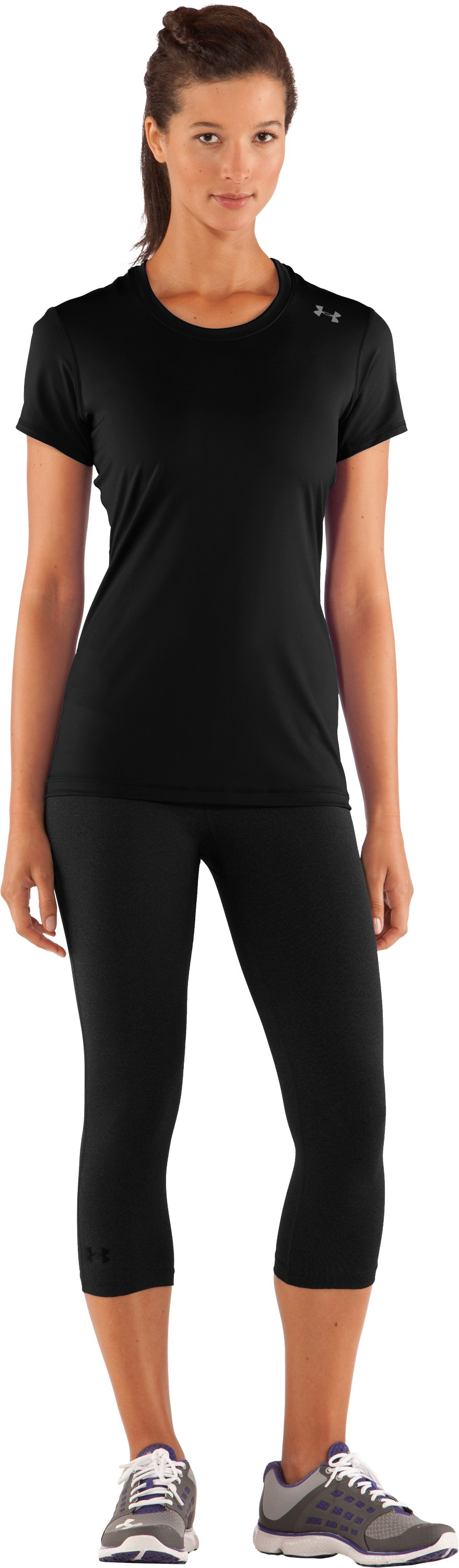 Women's HeatGear® Sonic Short Sleeve, Black , Front