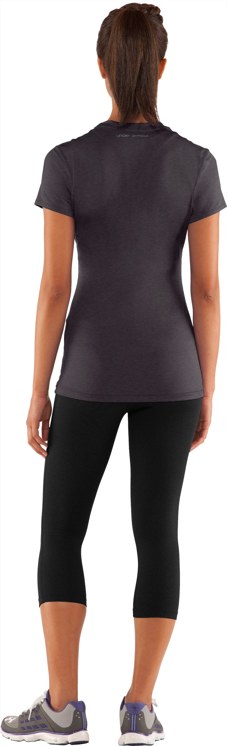 Women's HeatGear® Sonic Short Sleeve, Carbon Heather, Back