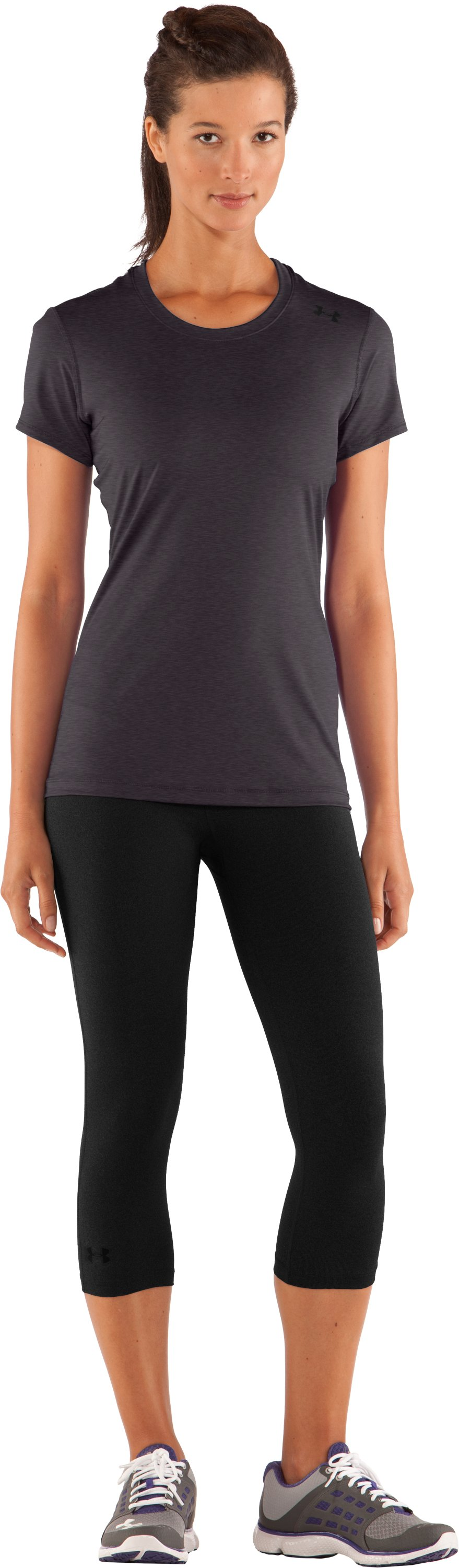 Women's HeatGear® Sonic Short Sleeve, Carbon Heather, Front