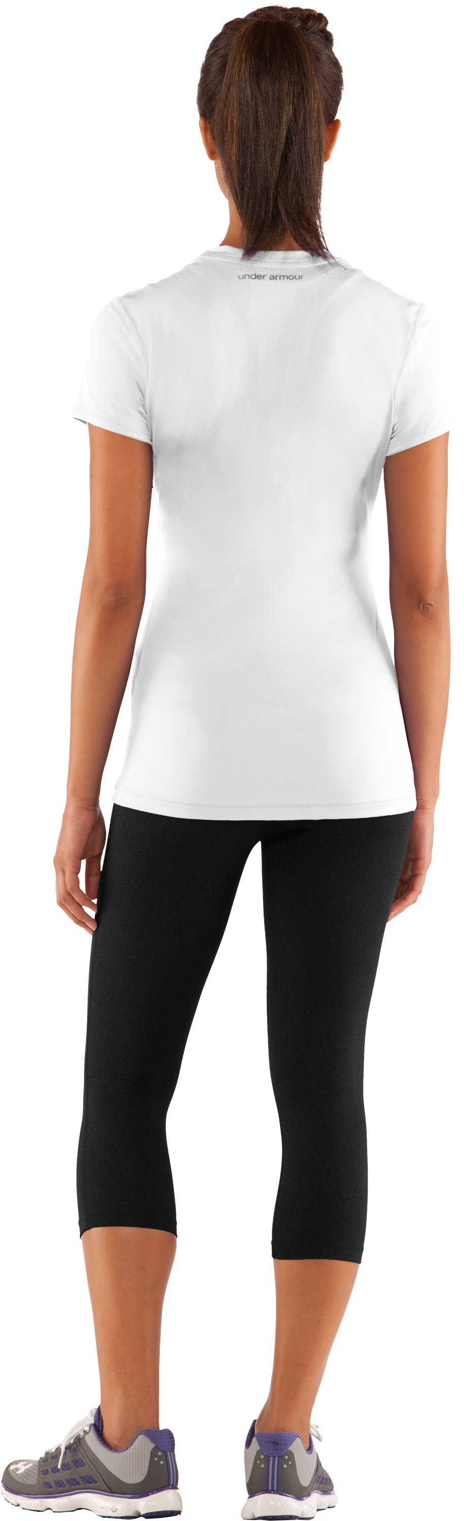 Women's HeatGear® Sonic Short Sleeve, White, Back