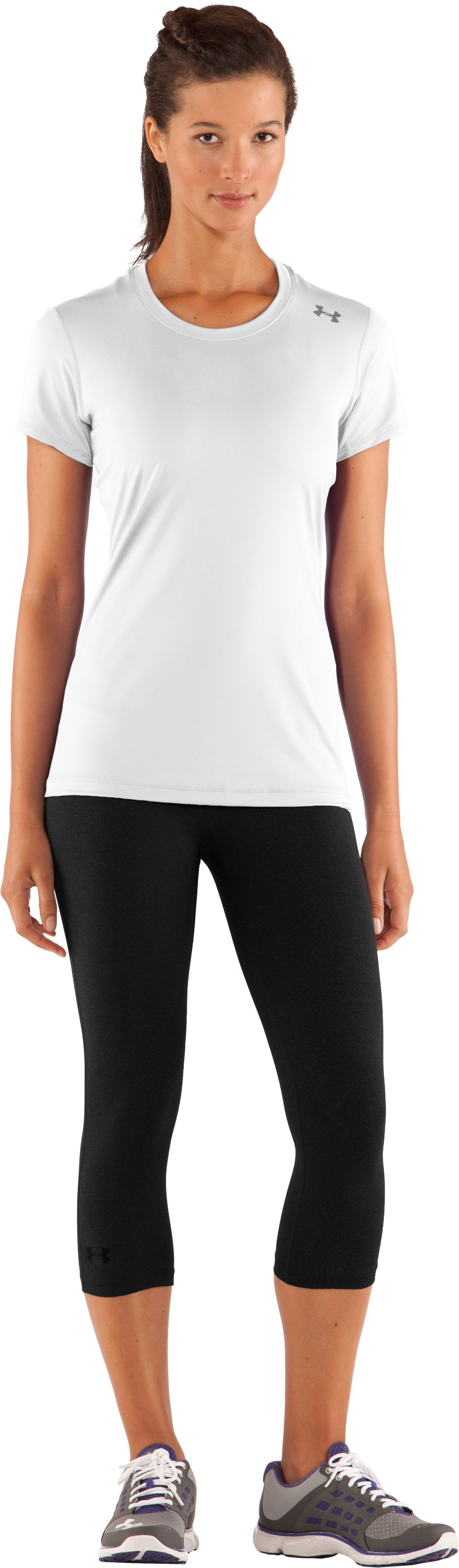 Women's HeatGear® Sonic Short Sleeve, White, Front