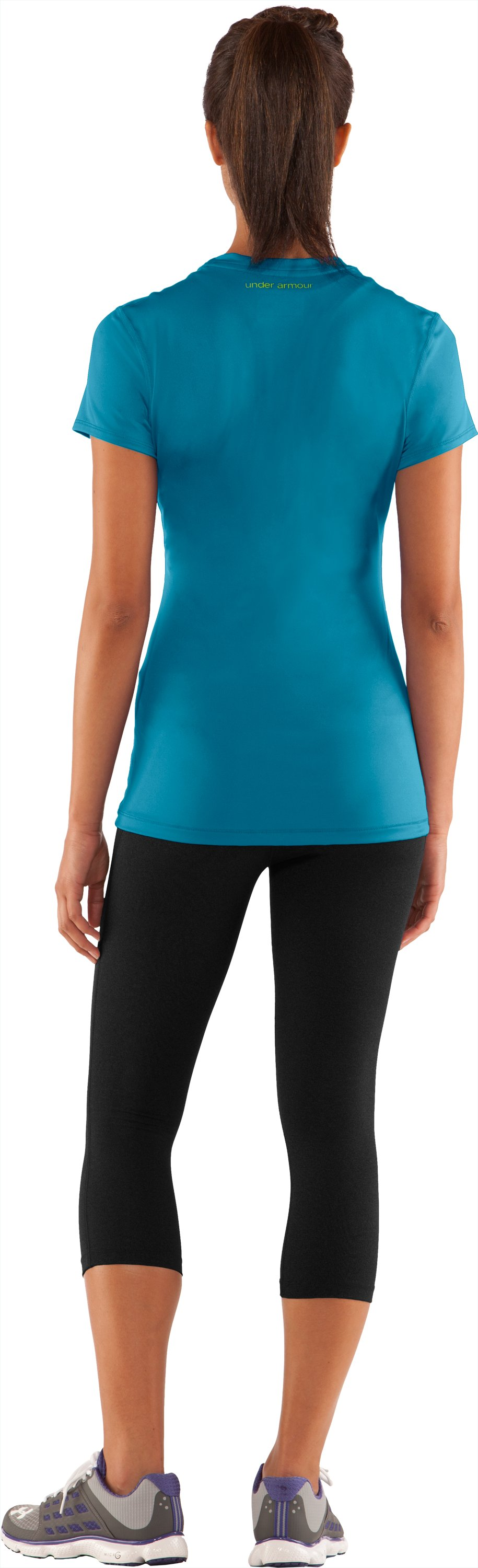 Women's HeatGear® Sonic Short Sleeve, Break, Back