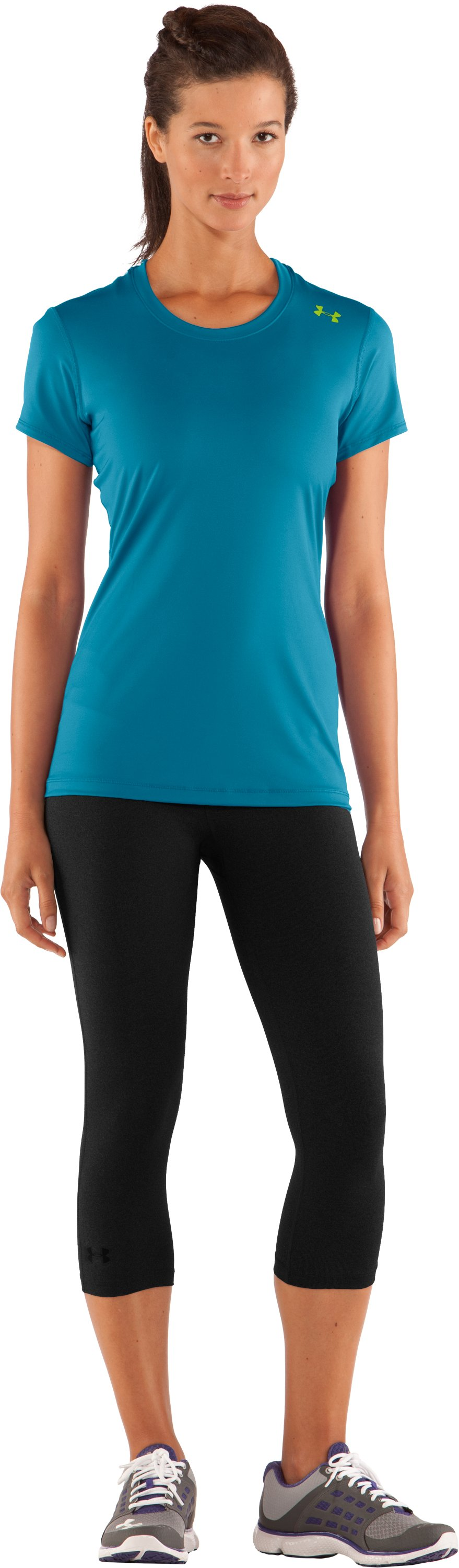 Women's HeatGear® Sonic Short Sleeve, Break, Front