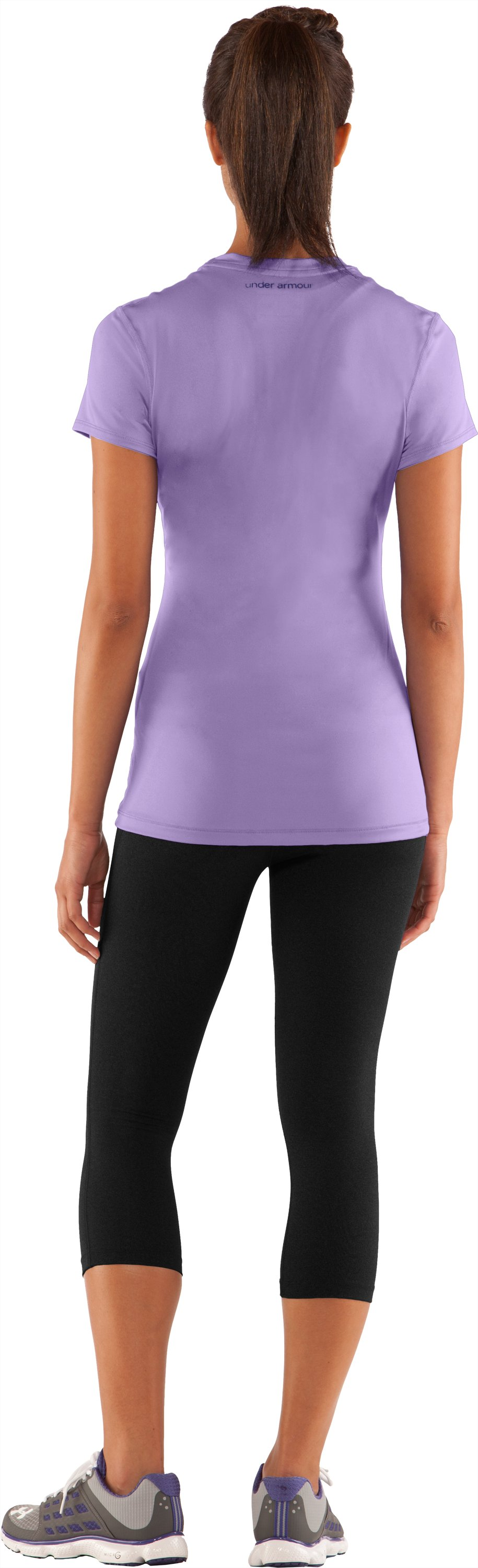 Women's HeatGear® Sonic Short Sleeve, Petunia, Back