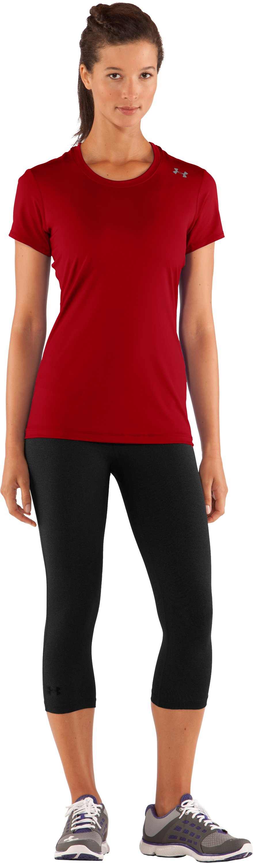 Women's HeatGear® Sonic Short Sleeve, Red, Front