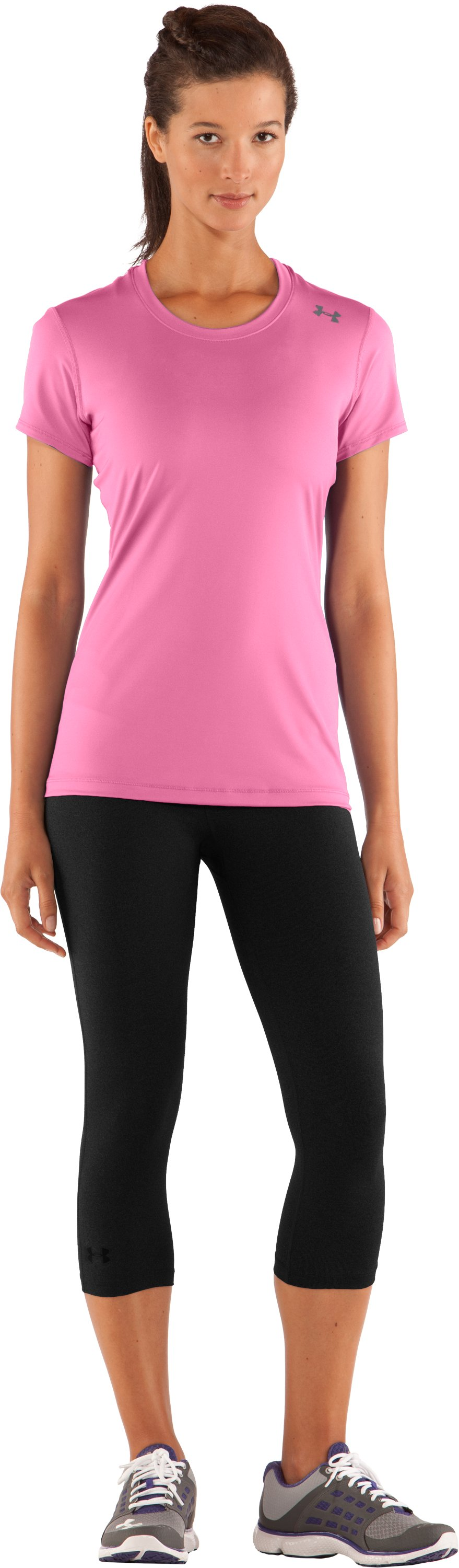 Women's HeatGear® Sonic Short Sleeve, Fluo Pink, zoomed image