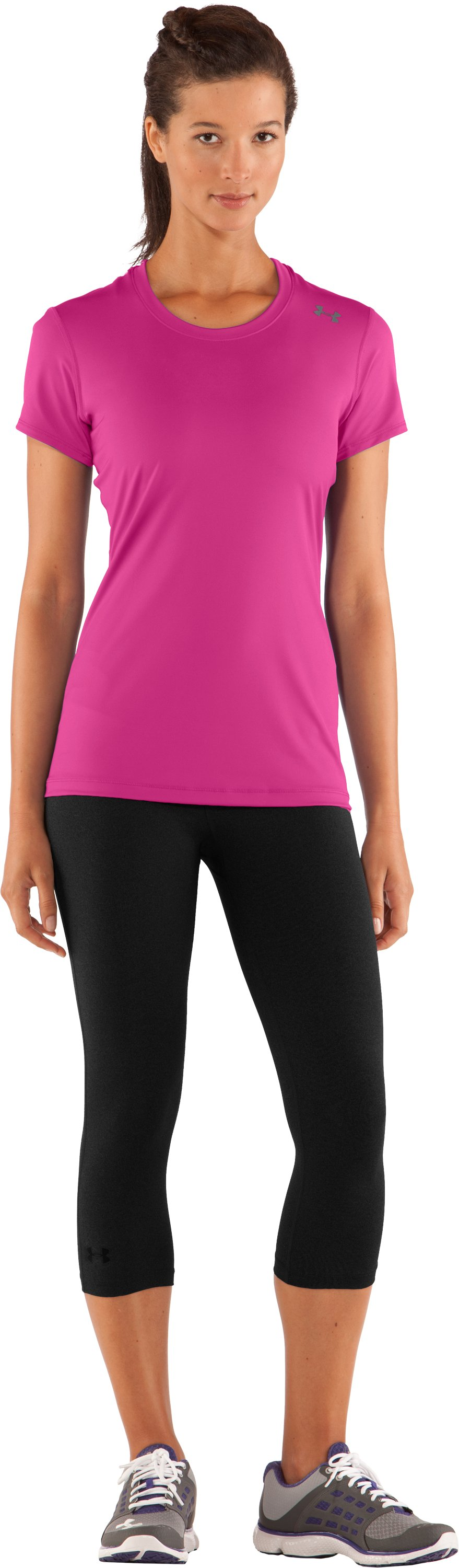 Women's HeatGear® Sonic Short Sleeve, Playful, Front