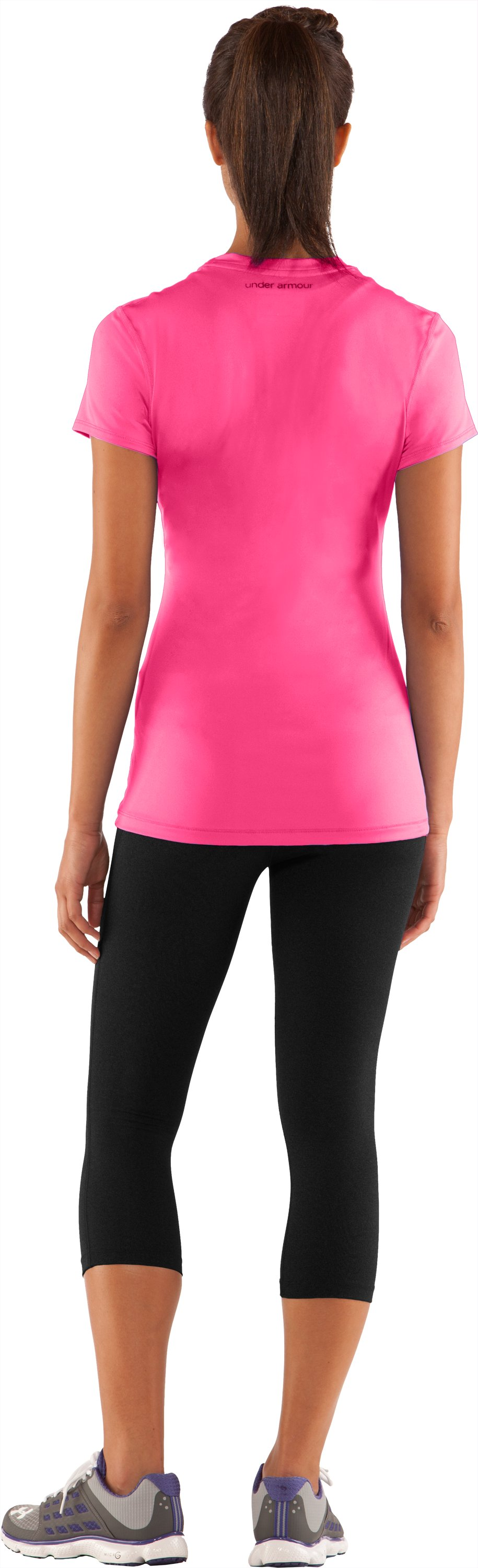 Women's HeatGear® Sonic Short Sleeve, PINKADELIC, Back