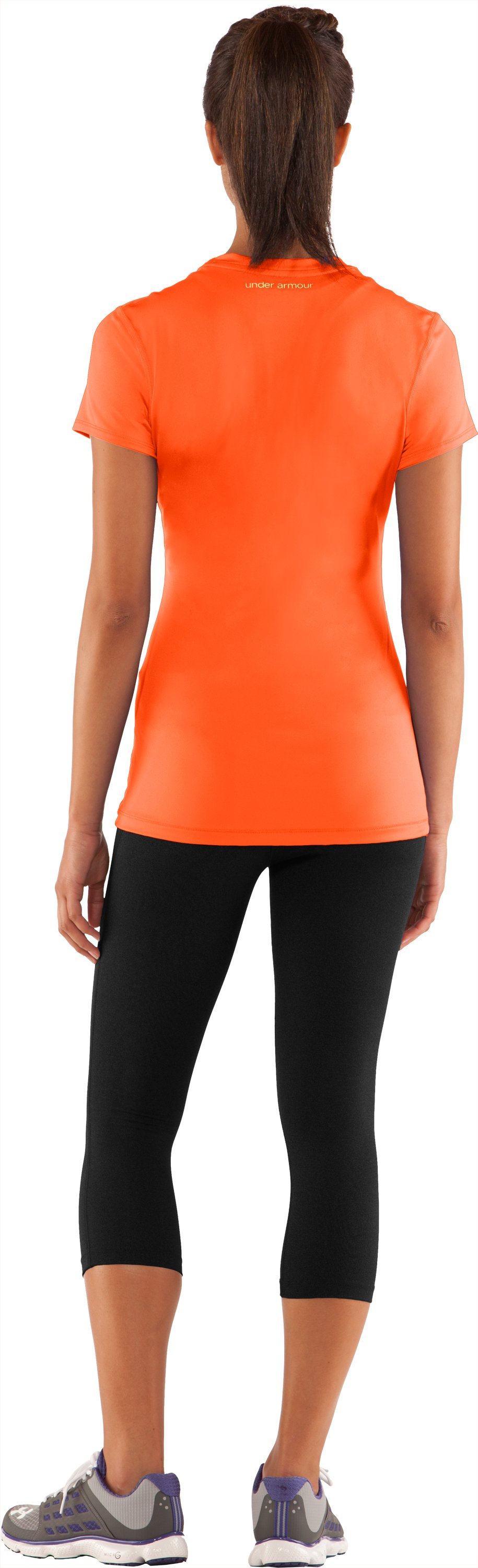 Women's HeatGear® Sonic Short Sleeve, Fire, Back