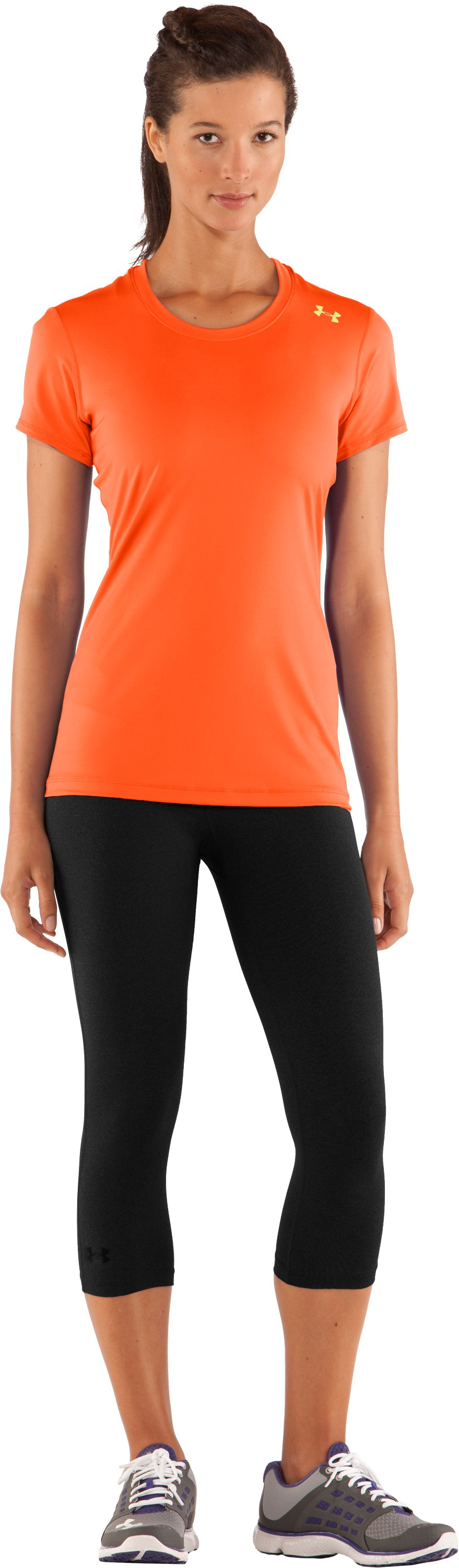Women's HeatGear® Sonic Short Sleeve, Fire, Front