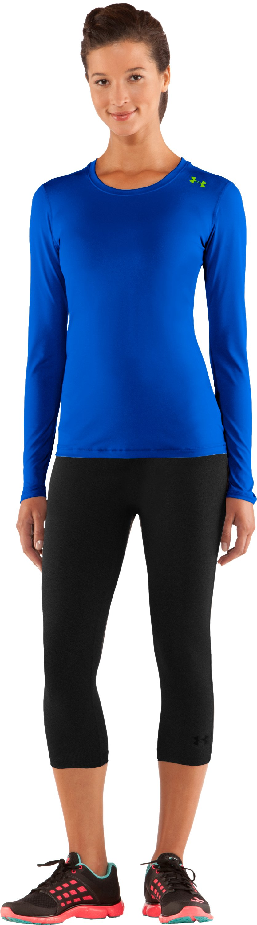 Women's HeatGear® Sonic Long Sleeve, BLU-AWAY, Front