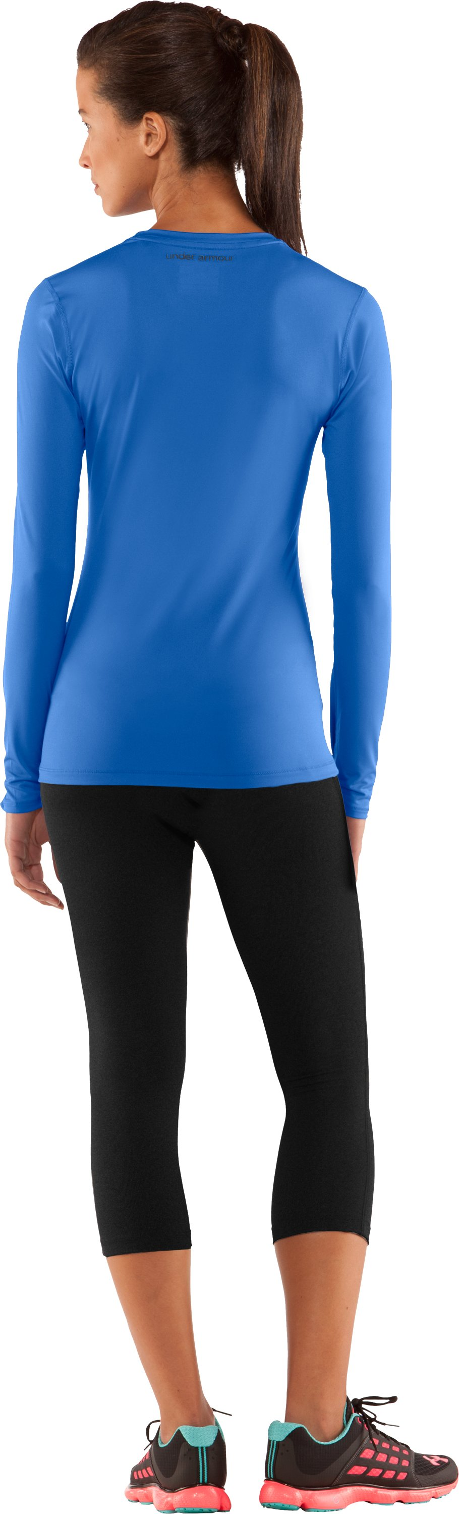 Women's HeatGear® Sonic Long Sleeve, Water, Back