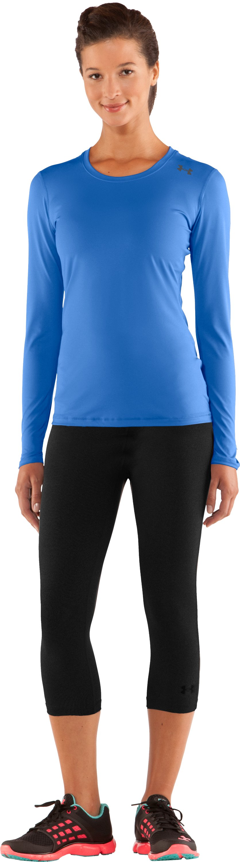 Women's HeatGear® Sonic Long Sleeve, Water, Front