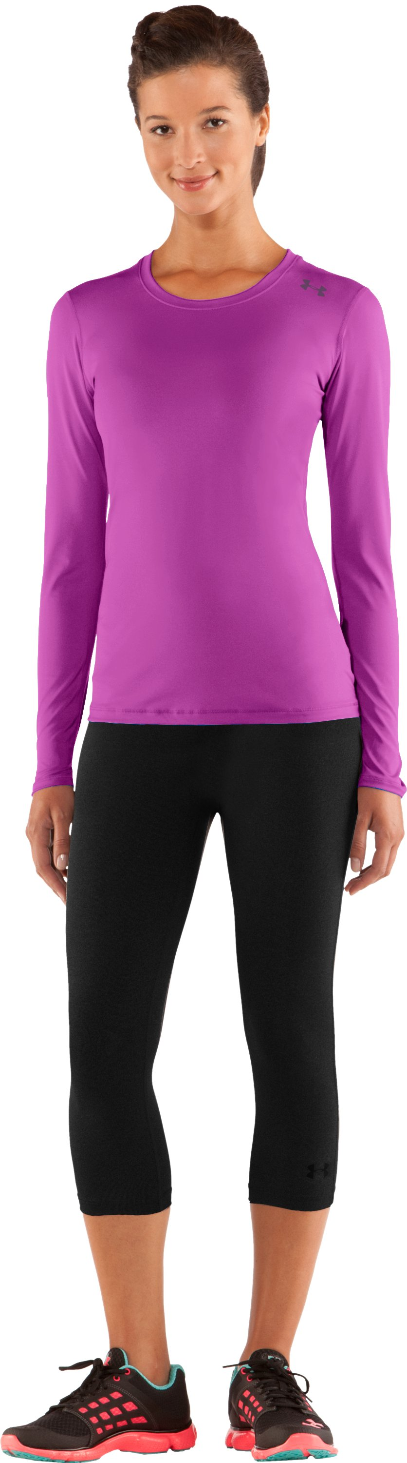 Women's HeatGear® Sonic Long Sleeve, STROBE, Front
