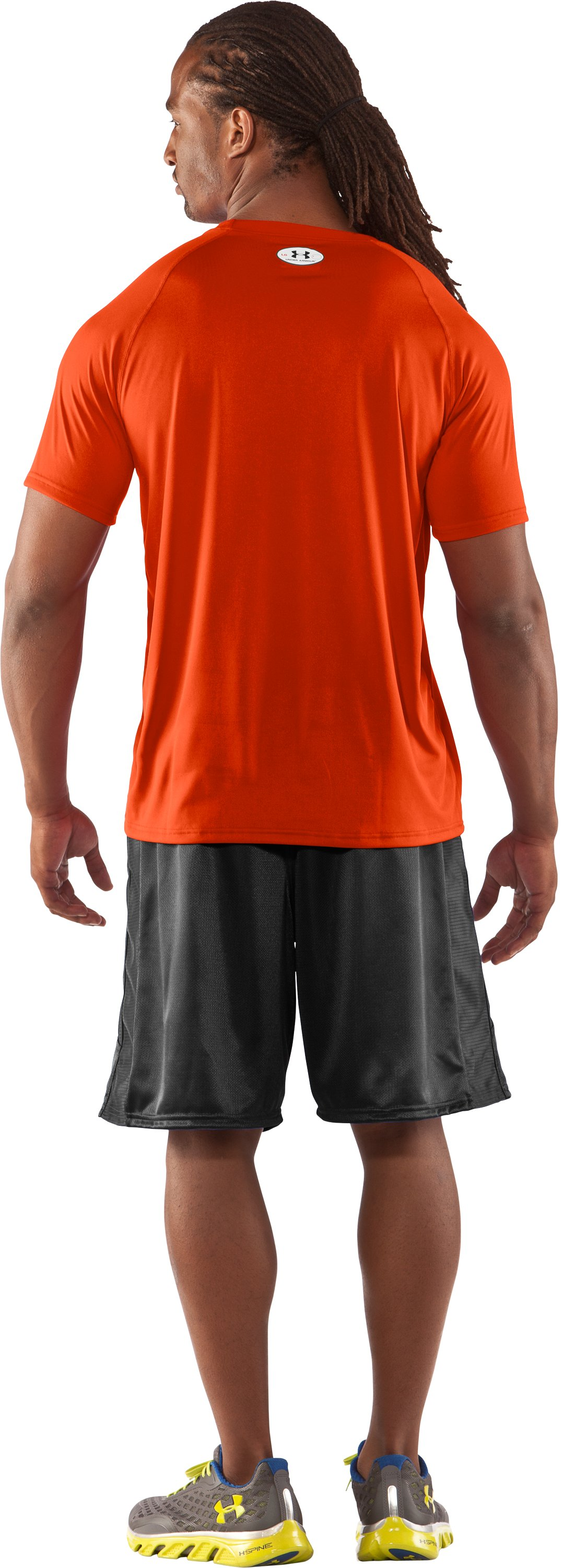Men's UA Locker T-Shirt, Dark Orange, Back