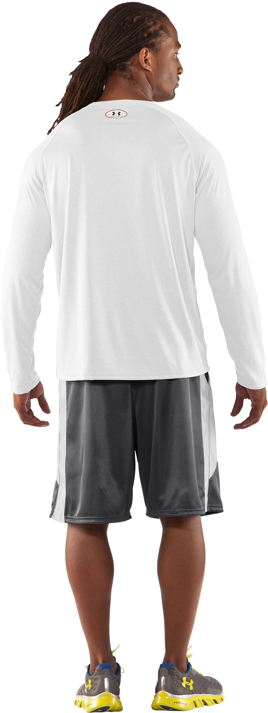 Men's UA Locker Long Sleeve T-Shirt, White, Back