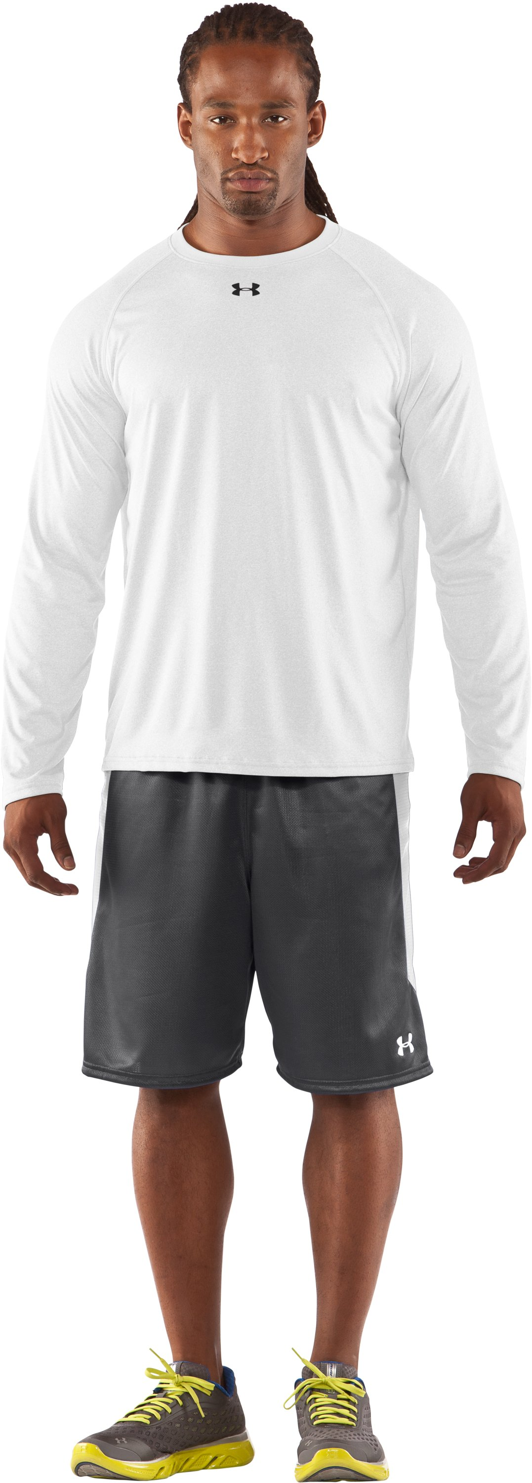 Men's UA Locker Long Sleeve T-Shirt, White, Front