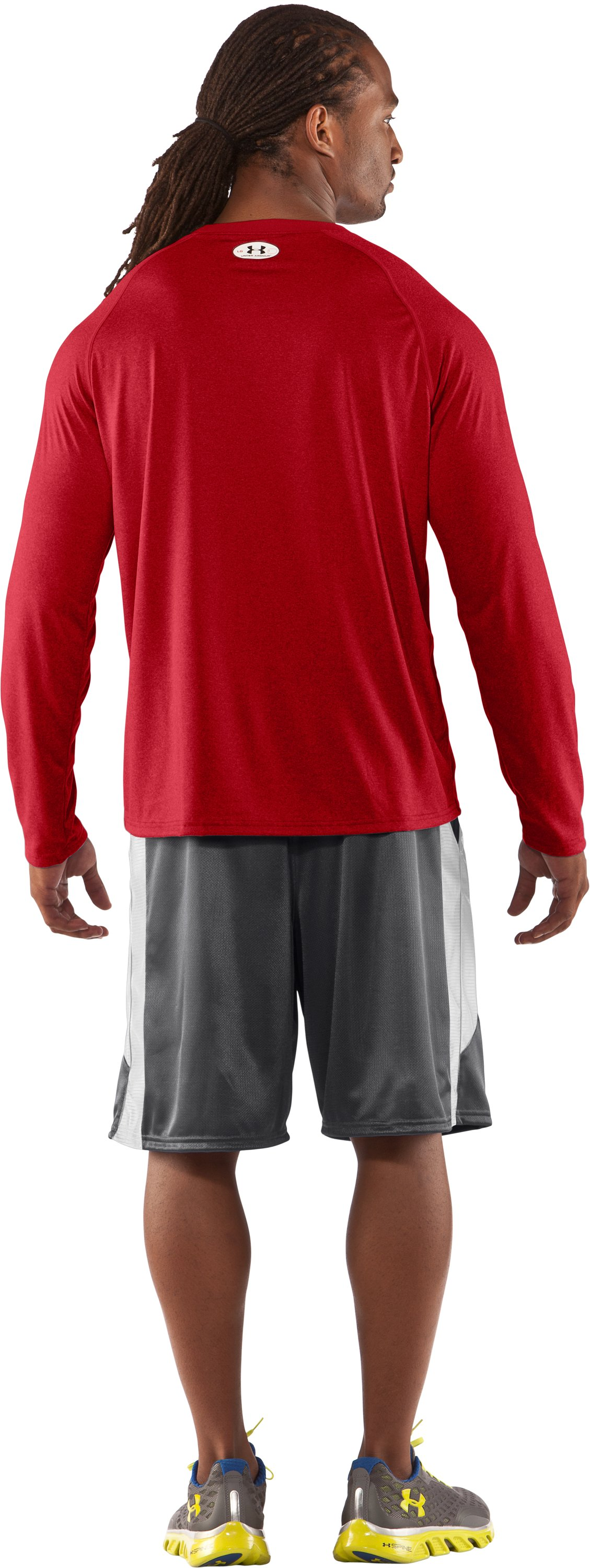 Men's UA Locker Long Sleeve T-Shirt, Red, Back