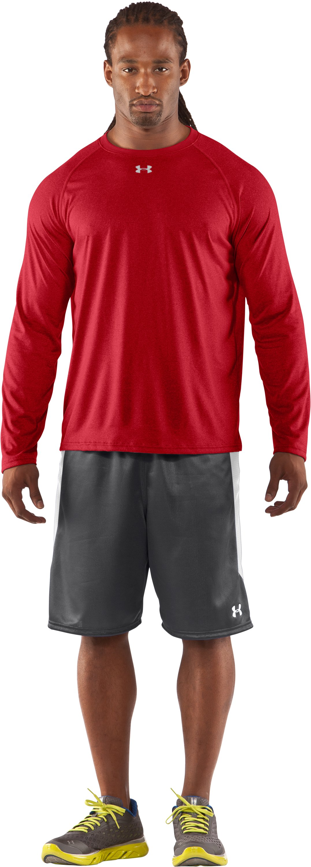 Men's UA Locker Long Sleeve T-Shirt, Red, Front