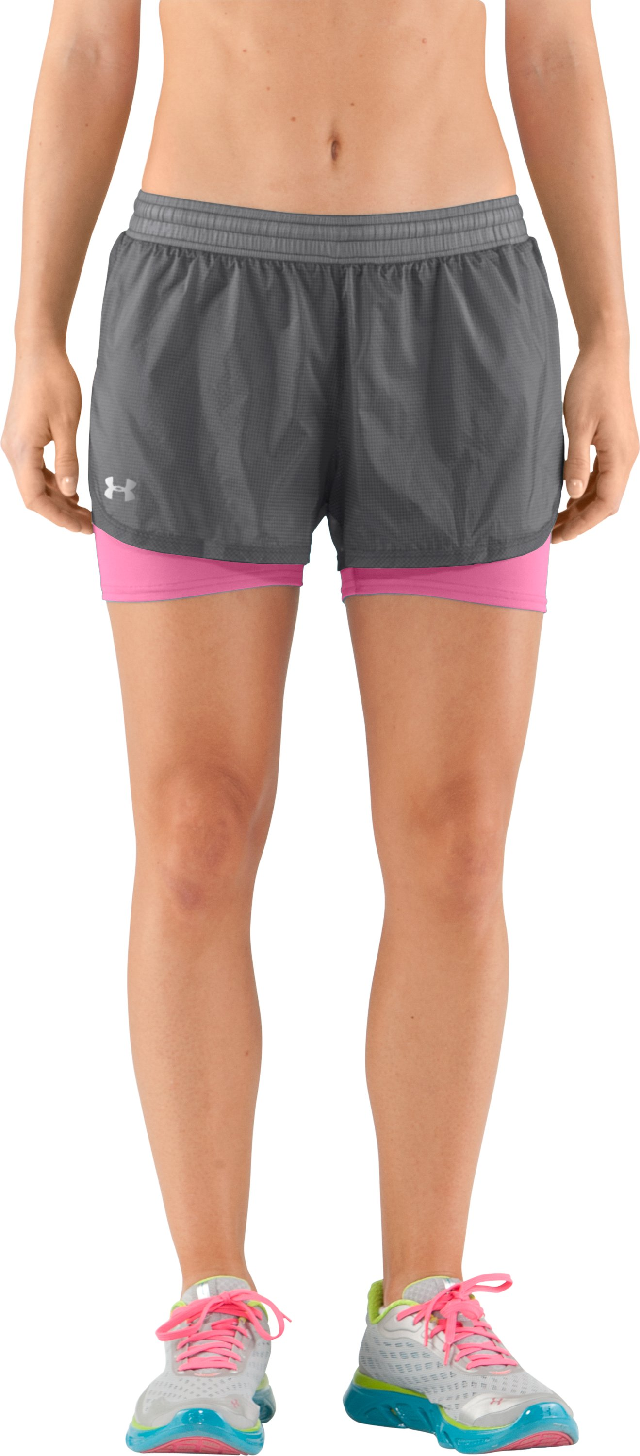 Women's UA See Me Go Translucent 2-in-1 Shorts, Graphite, zoomed image
