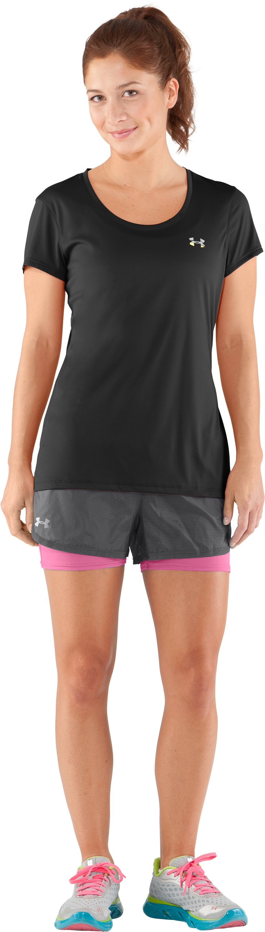 Women's UA See Me Go Translucent 2-in-1 Shorts, Graphite, Front
