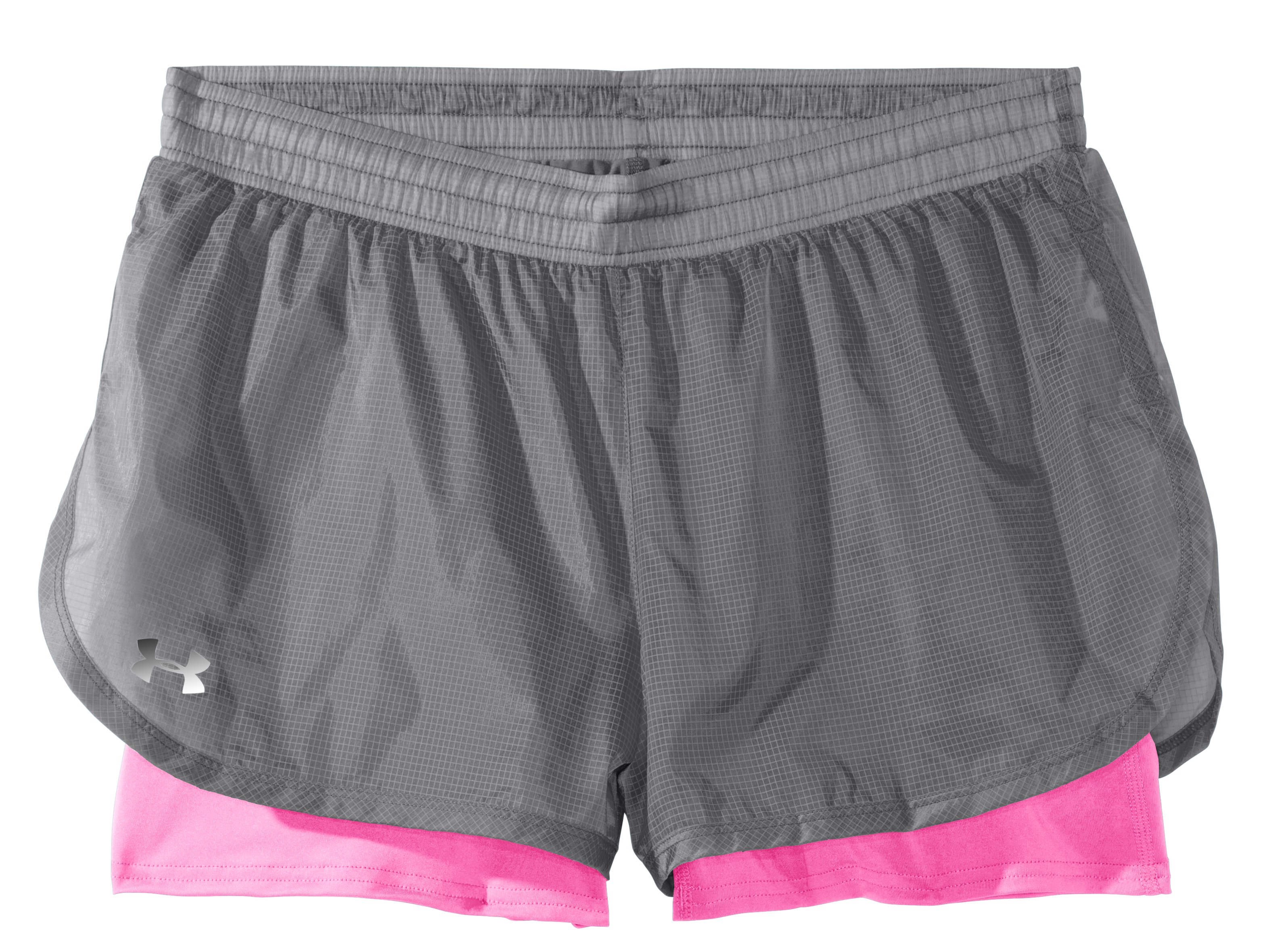 Women's UA See Me Go Translucent 2-in-1 Shorts, Graphite, Laydown