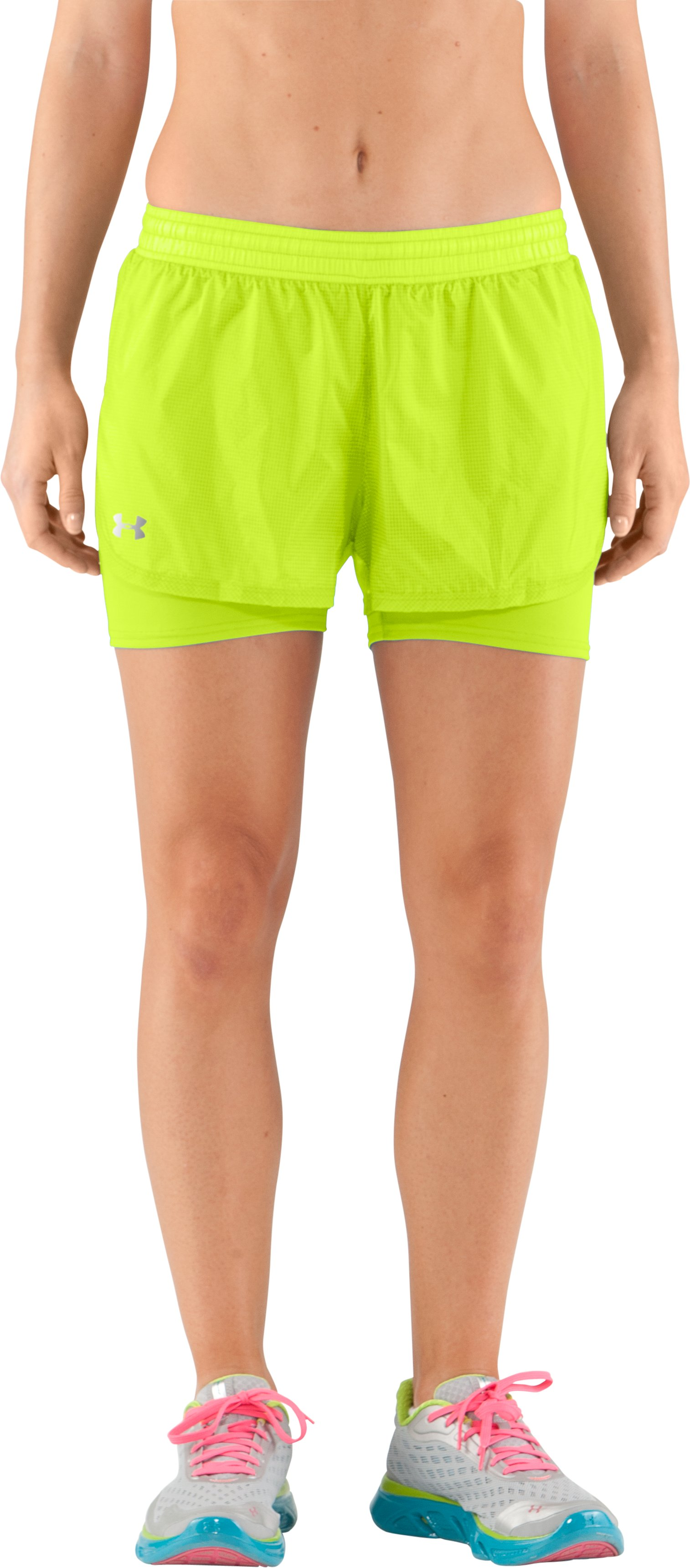 Women's UA See Me Go Translucent 2-in-1 Shorts, High-Vis Yellow, zoomed image