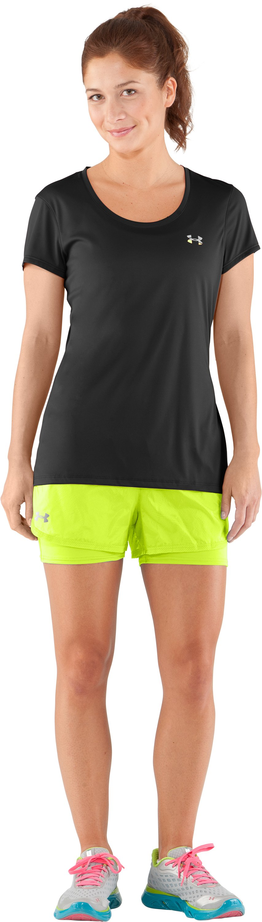 Women's UA See Me Go Translucent 2-in-1 Shorts, High-Vis Yellow, Front