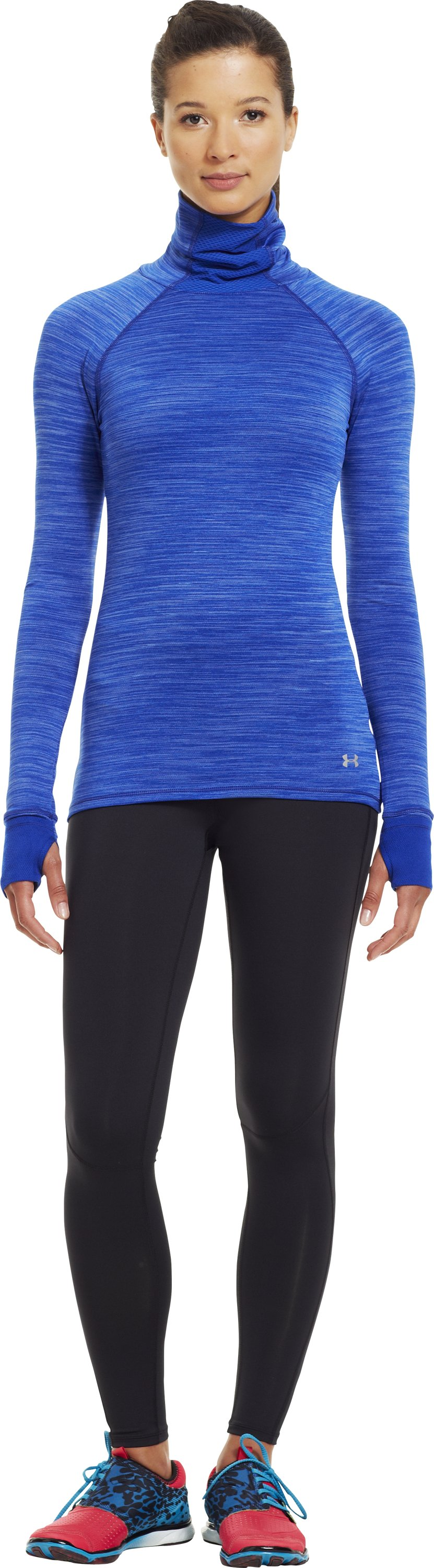 Women's Printed UA Fly-By Turtleneck, BLU-AWAY, Front