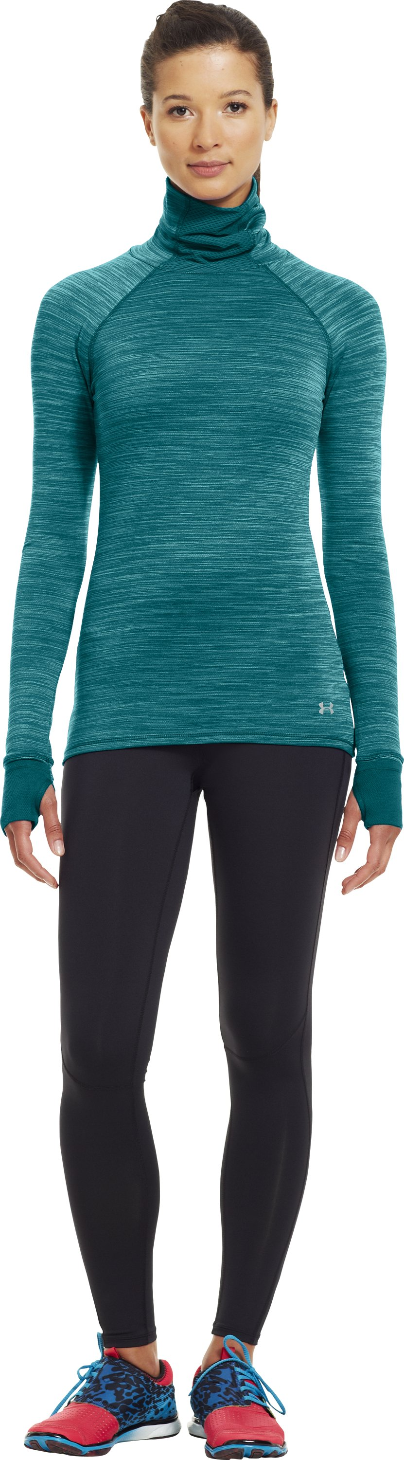 Women's Printed UA Fly-By Turtleneck, CERULEAN, zoomed image