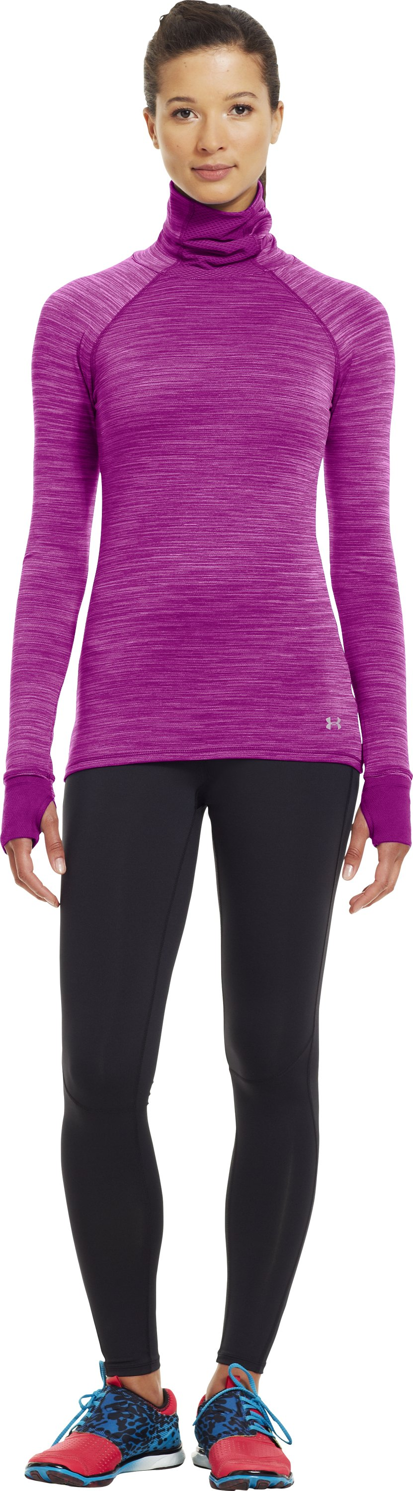 Women's Printed UA Fly-By Turtleneck, STROBE, Front