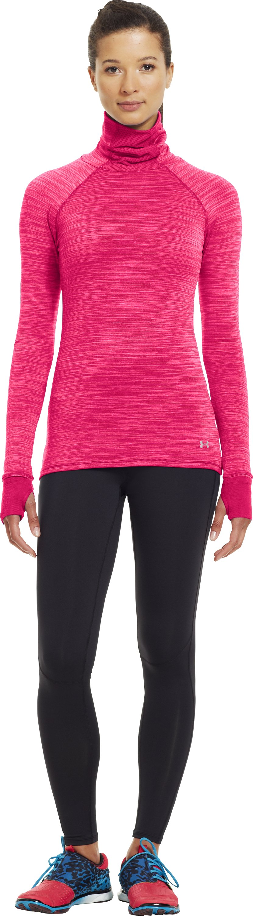 Women's Printed UA Fly-By Turtleneck, PINKADELIC, Front