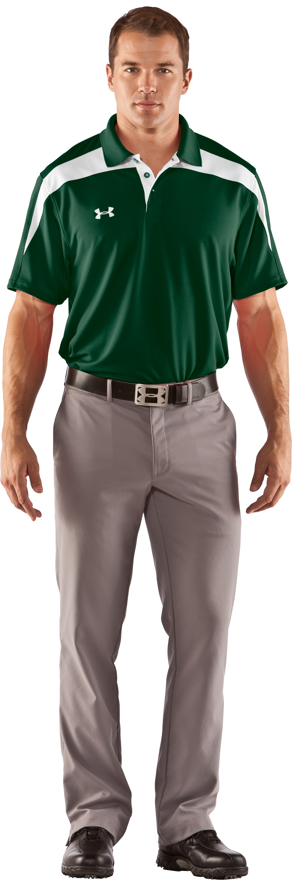 Men's UA Clutch II Polo, Forest Green, Front