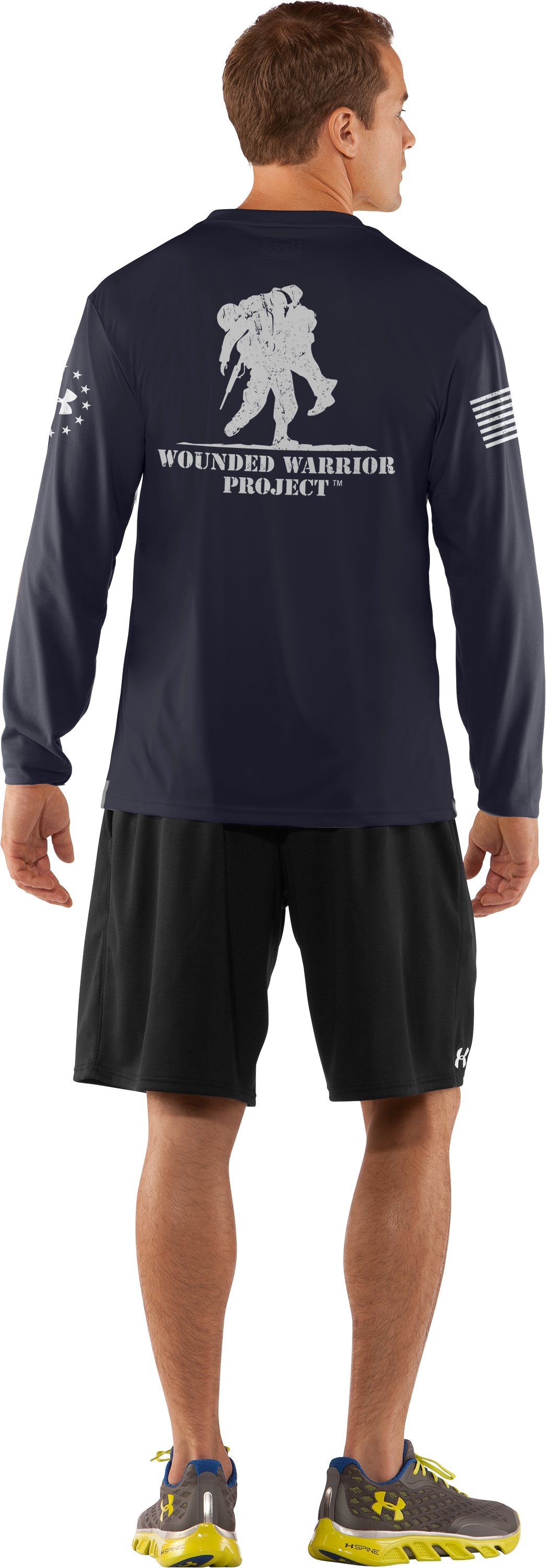 Men's WWP Long Sleeve T-Shirt, Dark Navy Blue , Back