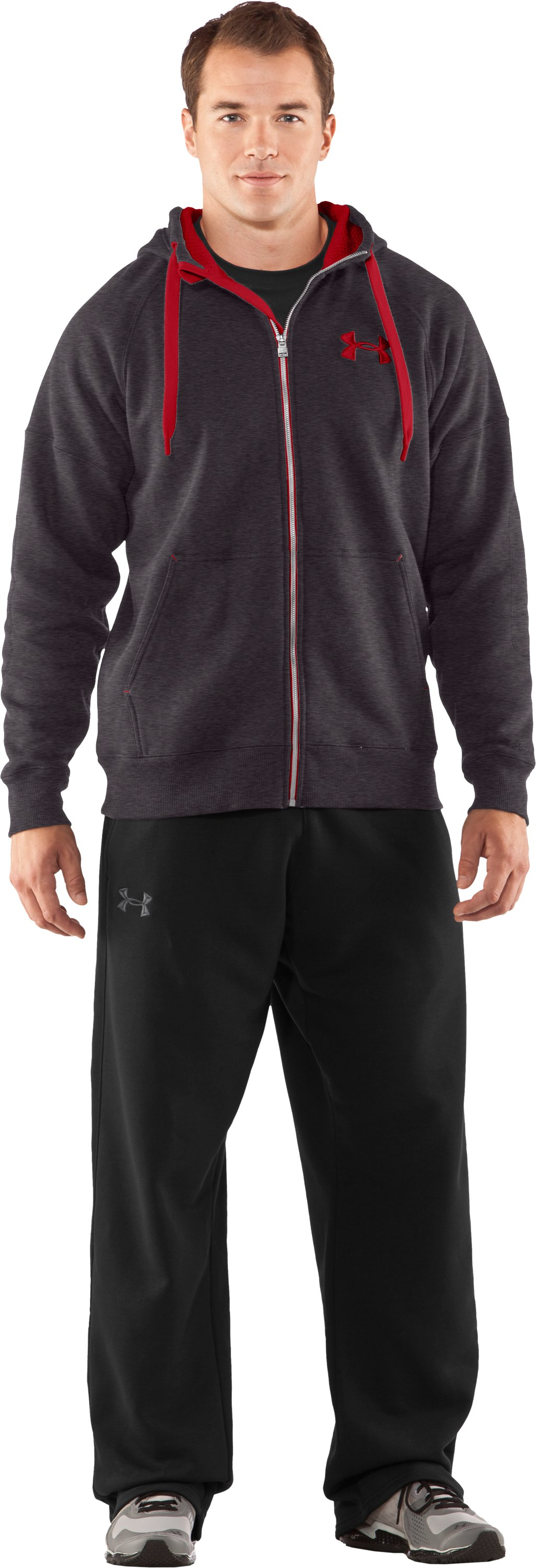 Men's Charged Cotton® Storm Heavy Hoodie, Carbon Heather, Front