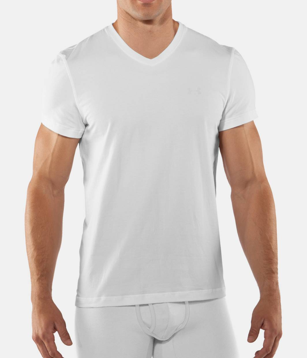 Men s charged cotton v neck undershirt under armour us for Mens under armour under shirt