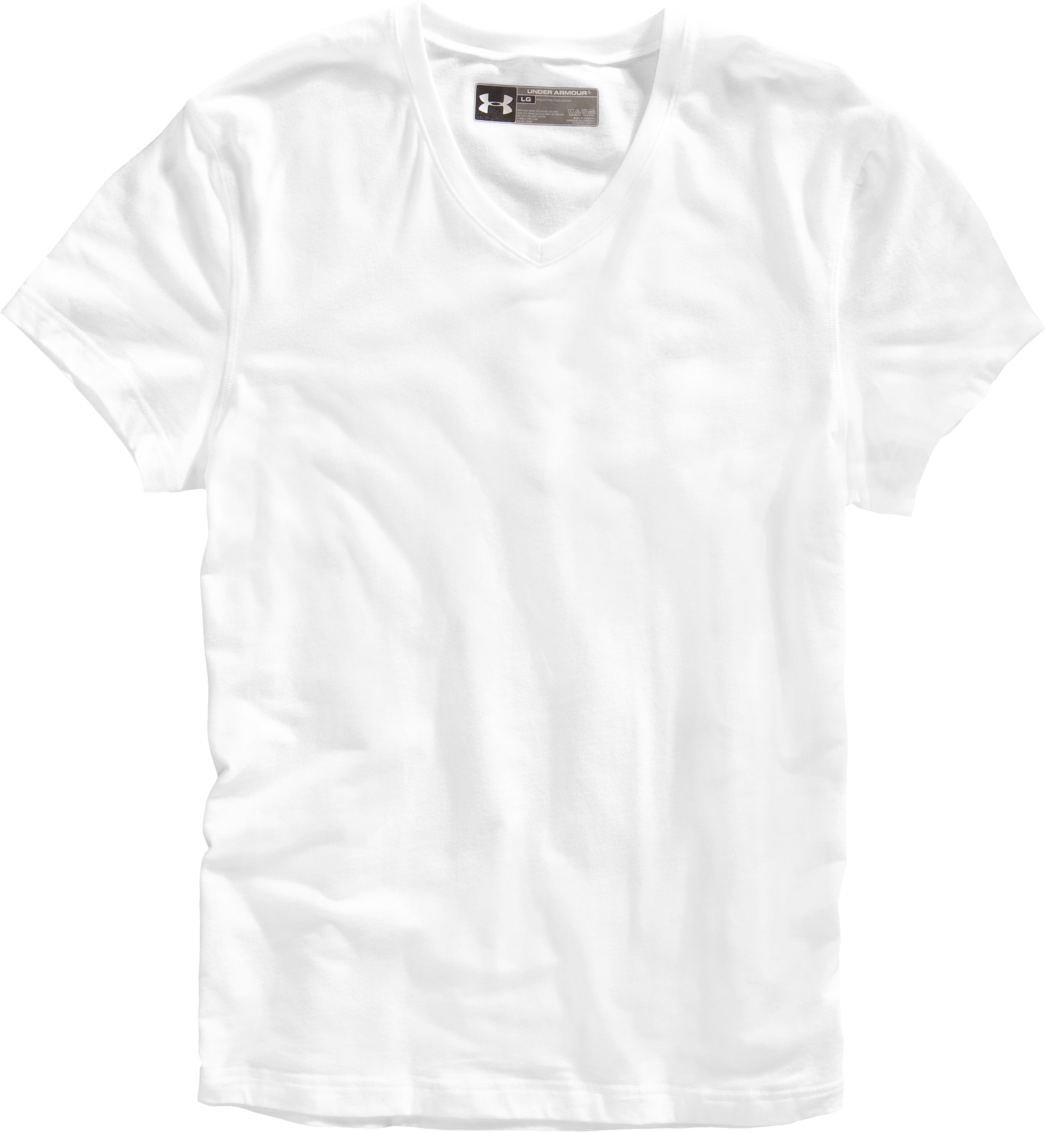 Men's Charged Cotton® V-neck Undershirt, White, Laydown