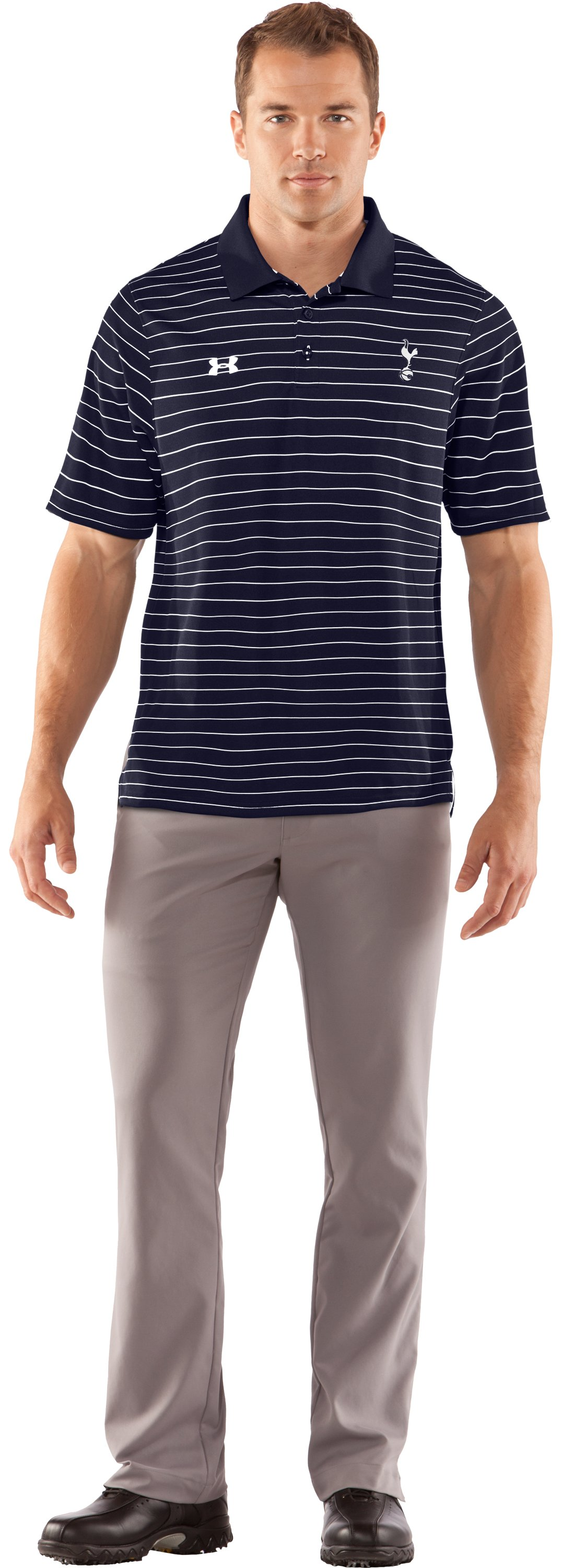 Men's Tottenham Hotspur Draw Stripe Polo, Midnight Navy, Front