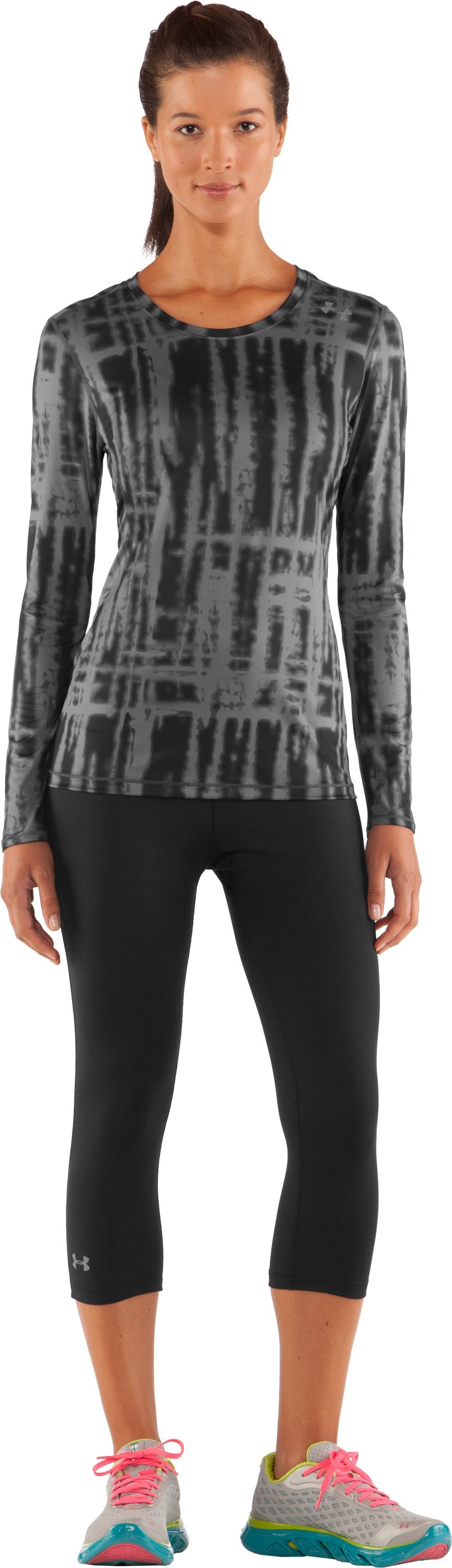Women's HeatGear® Sonic Printed Long Sleeve, Black , Front