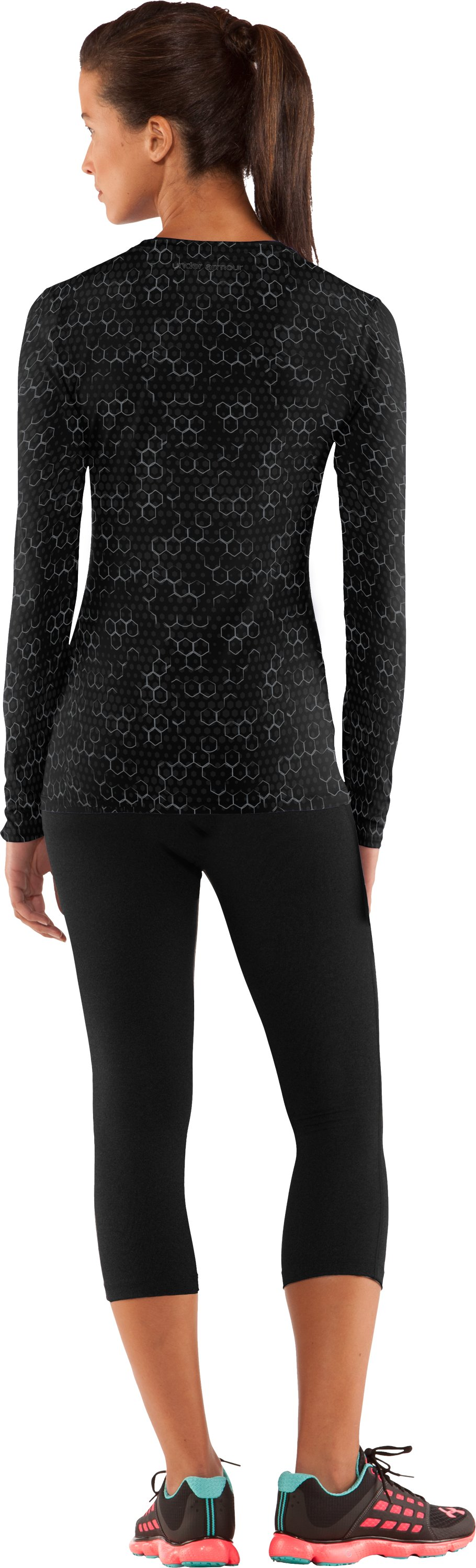 Women's HeatGear® Sonic Printed Long Sleeve, Black , Back