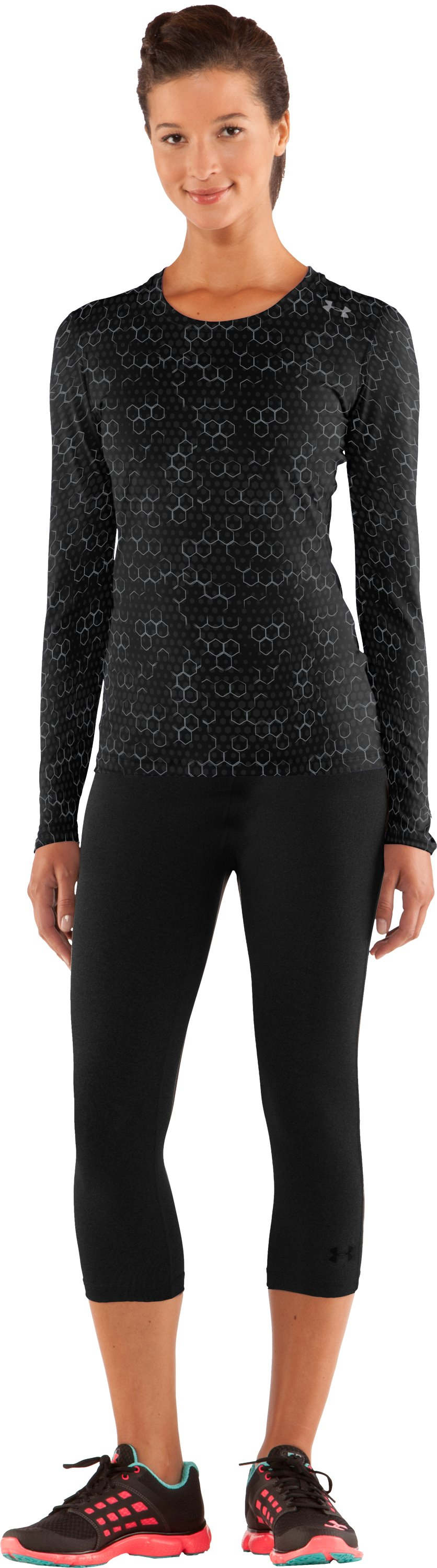 Women's HeatGear® Sonic Printed Long Sleeve, Black , zoomed image