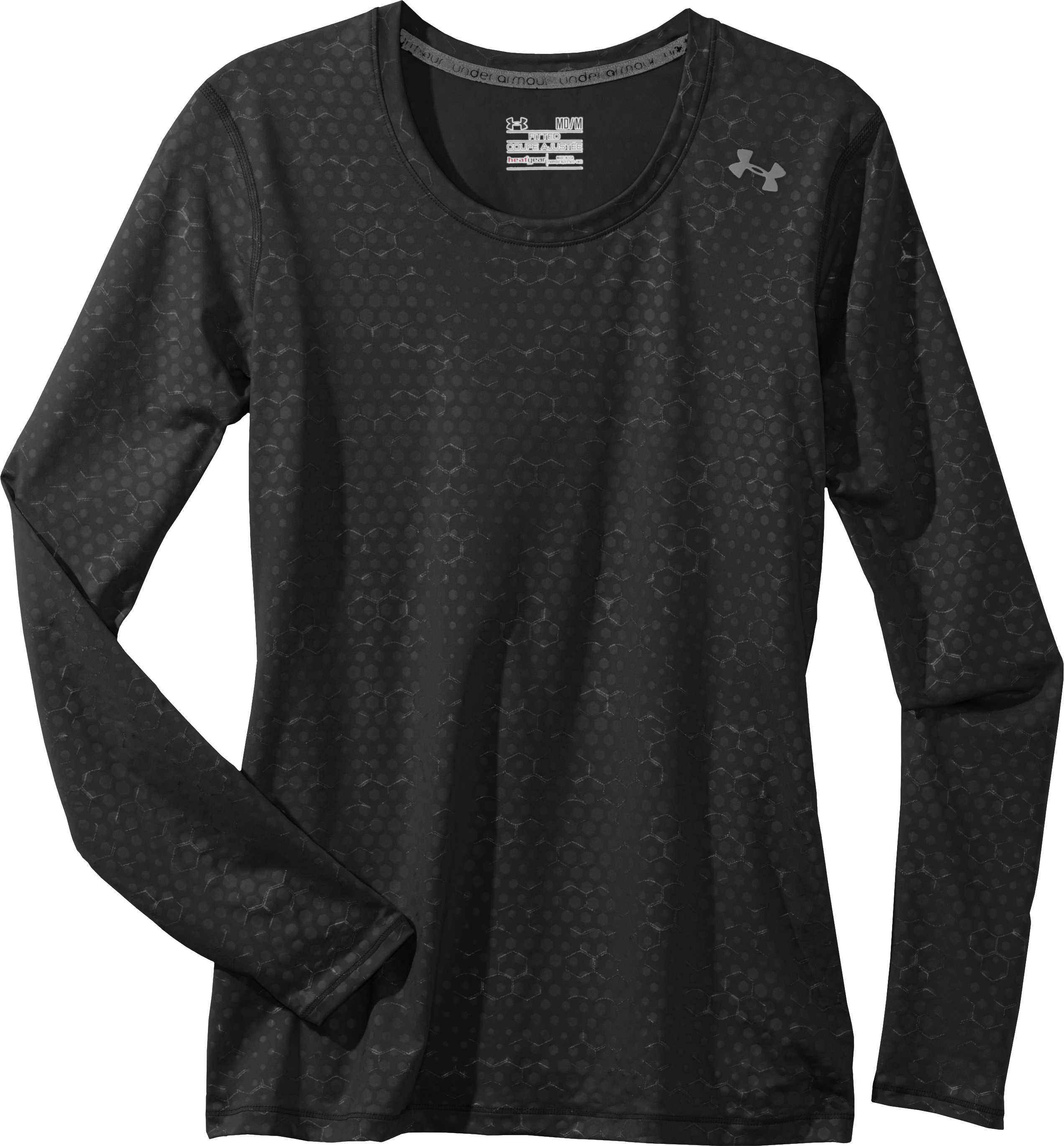 Women's HeatGear® Sonic Printed Long Sleeve, Black , Laydown